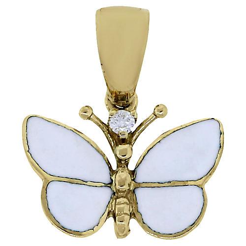 14k Diamond Enamel Butterfly Pendant