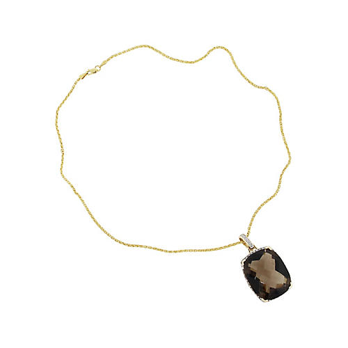 14K Diamond and Topaz Pendant Necklace