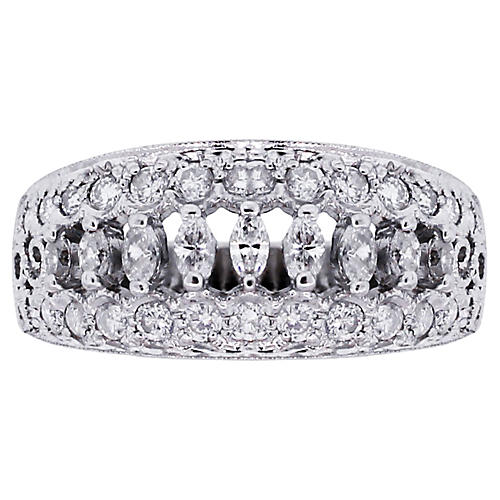 14k Marquise and Round Diamond Ring