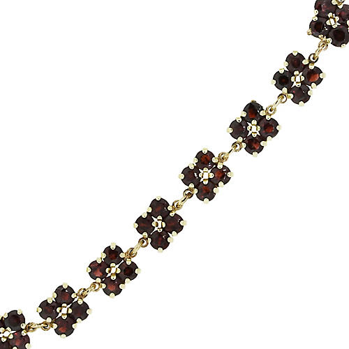 14K Round Garnet Cluster Bracelet