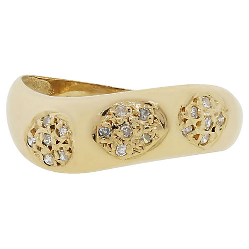 18K Diamond Curved Band Ring