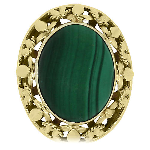 14k Oval Malachite Cocktail Ring