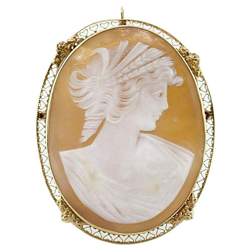 14k Cameo Filigree Pin