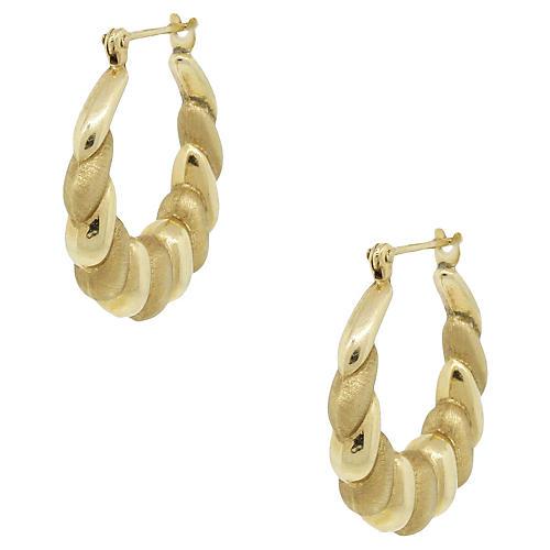 14k Scallop Hoop Earrings