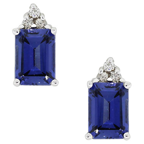14k Sapphire Diamond Stud Earrings