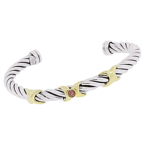 Two-Tone Pink Cabochon Cable Bangle