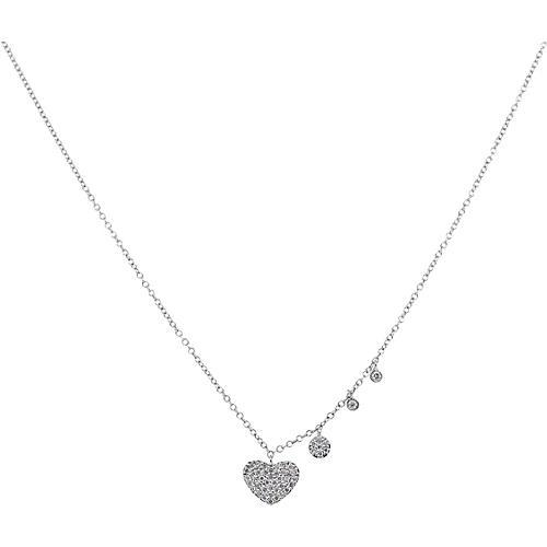 14k Meira T Diamond Pave Heart Necklace