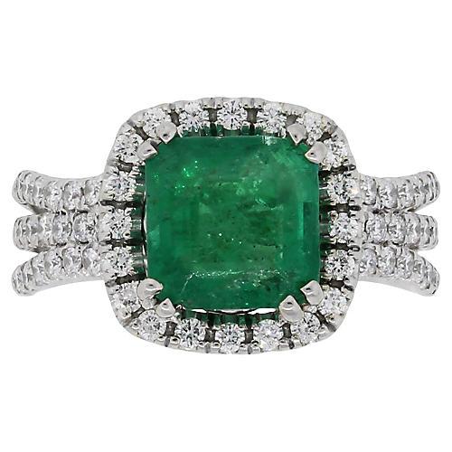 14K White Gold, Emerald & Diamond Ring