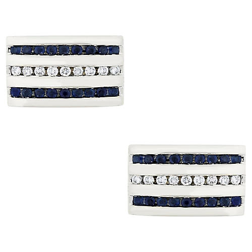 18k Sapphire and Diamond Cufflinks