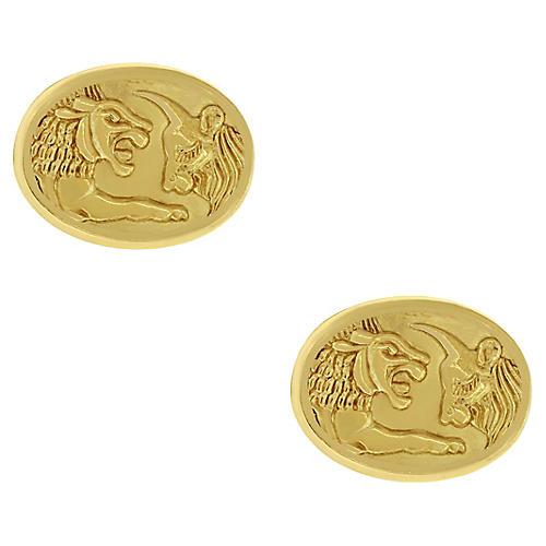 David Yurman Gold Lion & Ox Cufflinks
