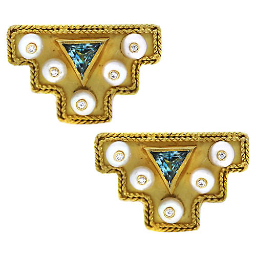 18k Diamond Aquamarine Pearl Cufflinks