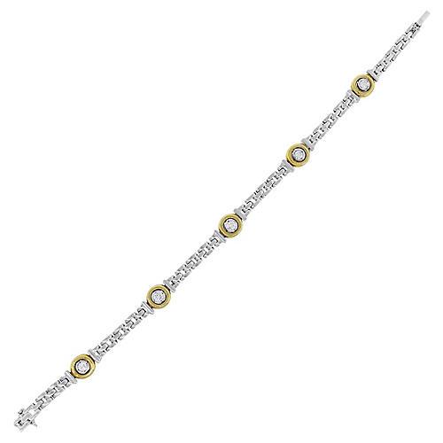 18K Round Diamond Bezel Set Bracelet