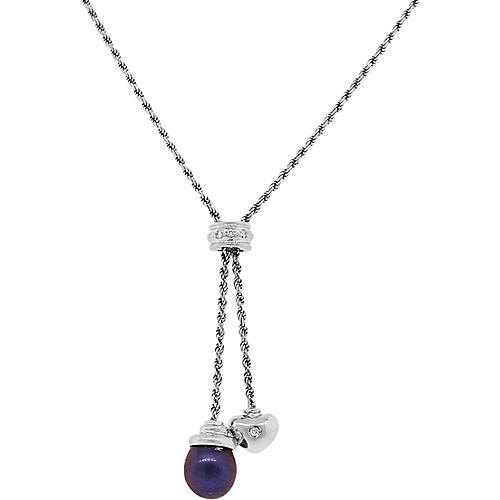 Diamond Heart & Tahitian Pearl Necklace
