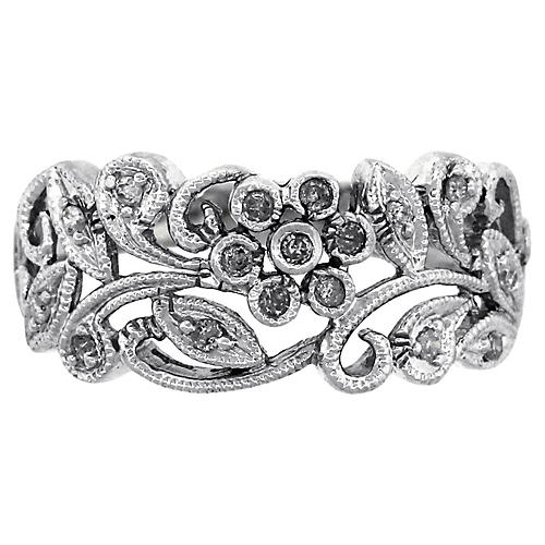 14K Diamond Filigree Flower Ring