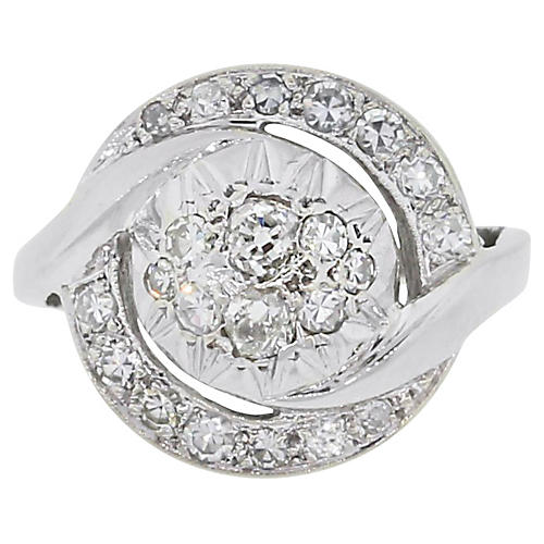 14K White Gold & Diamond Swirl Ring