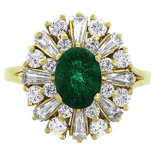 14K Yellow Gold & Emerald Oval Ring