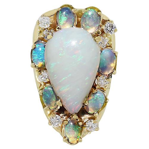 14K Pear Shape Opal & Diamond Ring