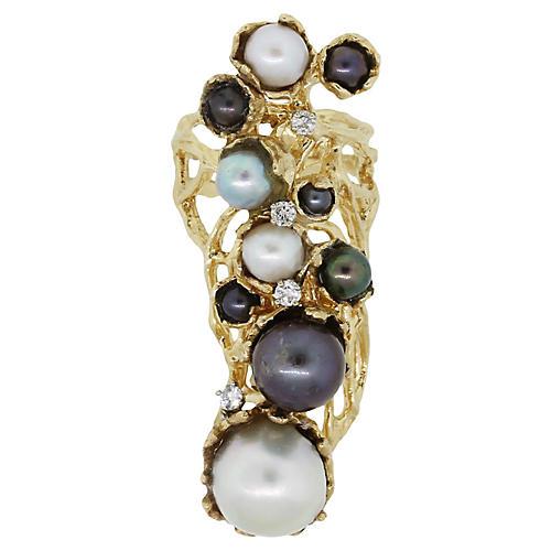 Multi Pearl Diamond Filigree Ring