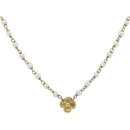 14K Gold & Pearl Flower Necklace