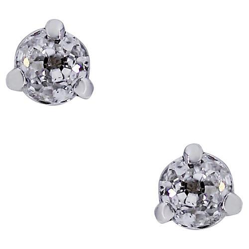 14K Gold & Single-Cut Diamond Earrings