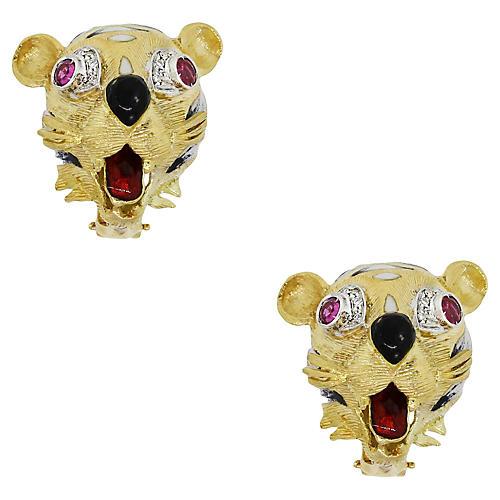 18K Gold & Diamond Tiger Earrings
