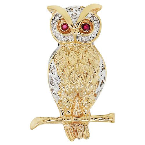 18K Gold, Diamond & Ruby Owl Brooch