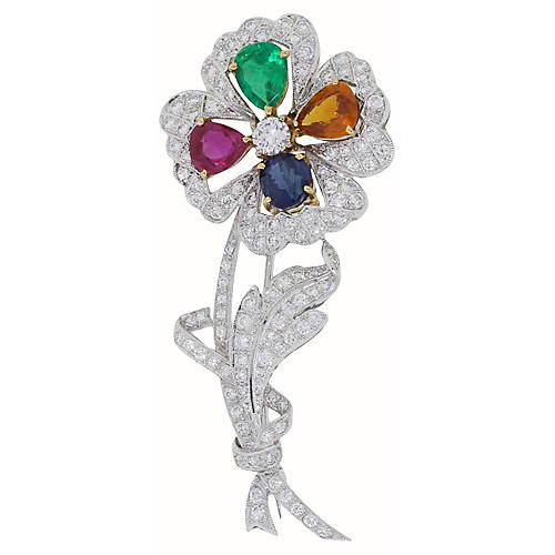 Gold, Diamond & Gemstone Flower Brooch