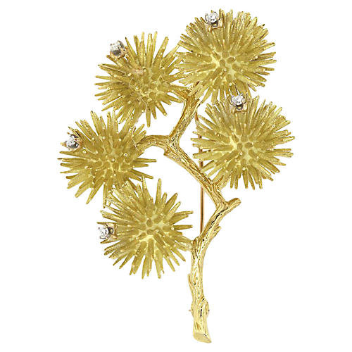 14K Gold & Diamond Tree Brooch