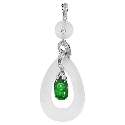 White Gold, Diamond & Jade Pendant