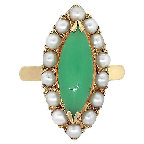 7ce25bb49 Marquise Shape Jade With Seed Pearl Ring