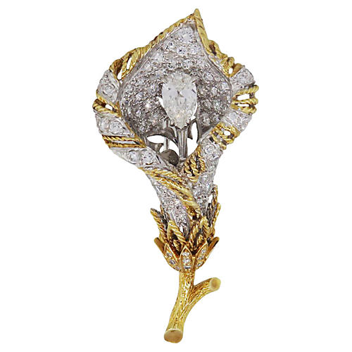 Gold & Platinum Diamond Rose Lapel Pin