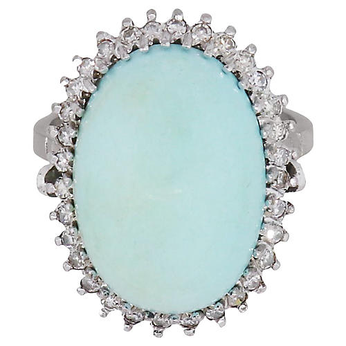 Cabochon Turquoise & Diamond Halo Ring