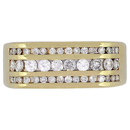 Three Row Diamond Mens Ring