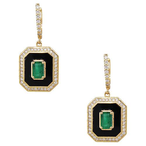 Gold, Emerald, & Diamond Dangle Earrings