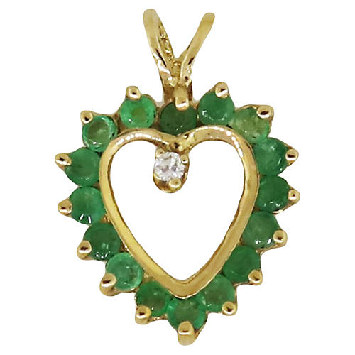 Gold, Emerald and Diamond Heart Pendant