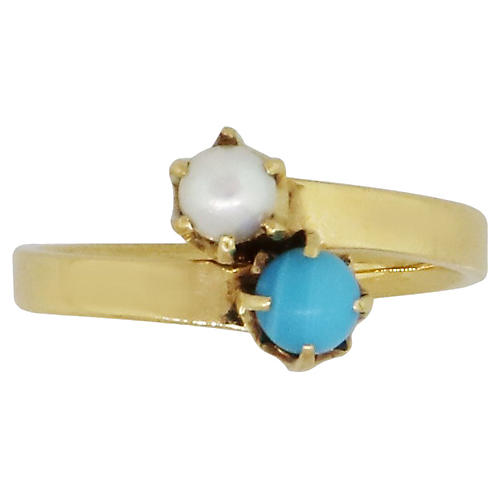 Tiffany & Co. Pearl & Turquoise Ring