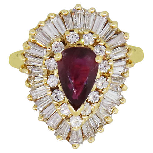 Gold, Diamond, & Ruby Ring