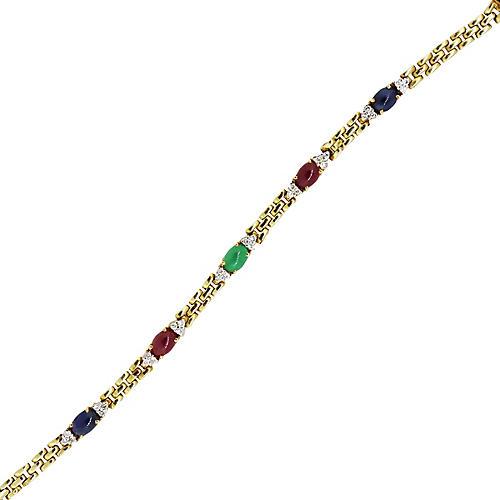 Gold, Diamond & Multi Gemstone Bracelet