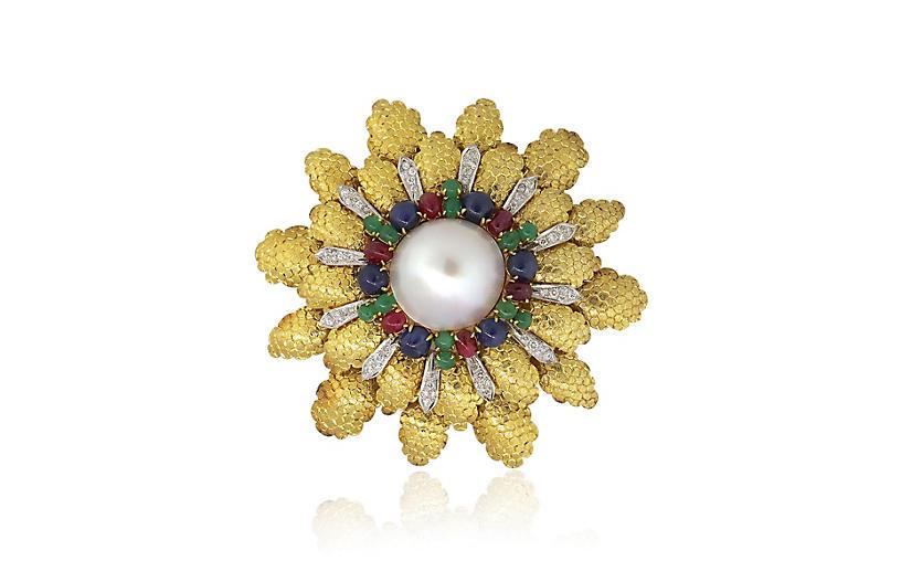 Big Flower Multi Stone Pearl Pin