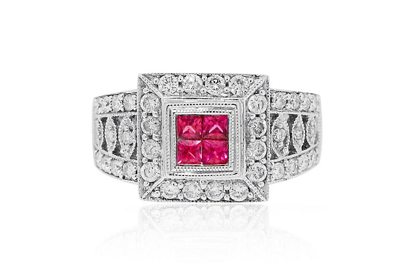 18k Gold 0.12ctw Ruby and 0.76ctw Ring