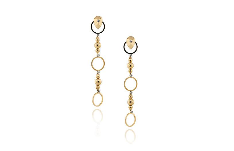 Diamond Accents Bead Drop Earrings