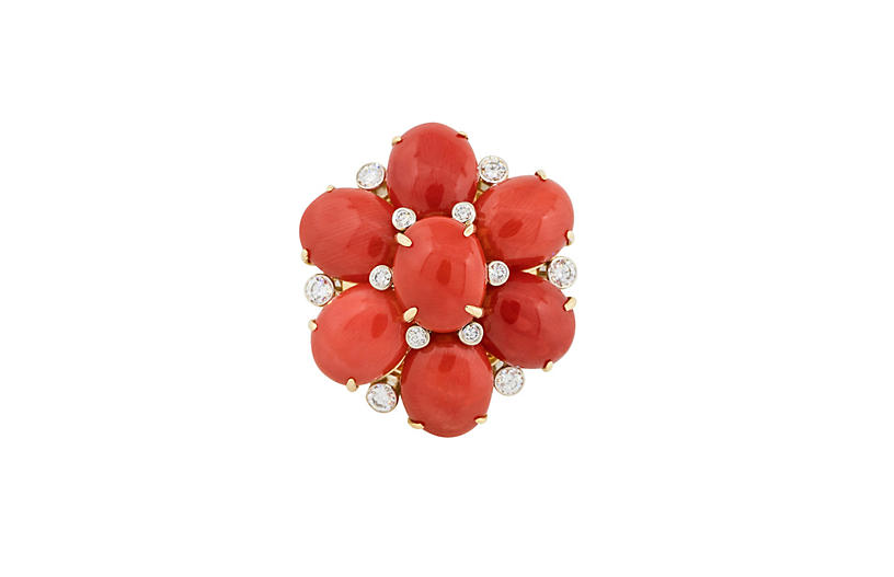 Diamond Mediterranean Coral Flower Ring