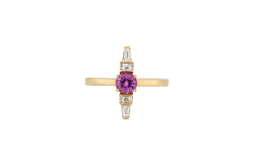 Pink Sapphire Column Ring With Diamonds