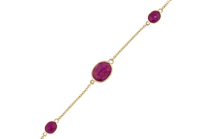Bezel Set Ruby Chain Link Bracelet
