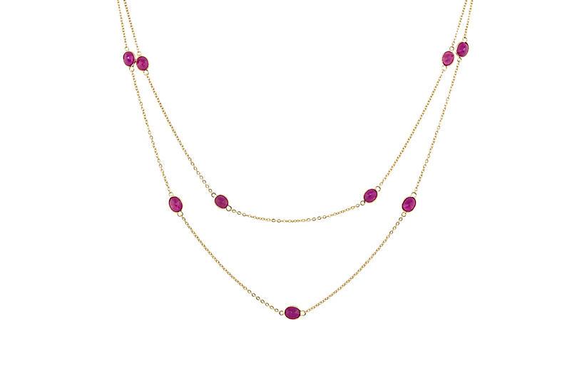 Bezel-Set Oval Ruby by the Yard Necklace