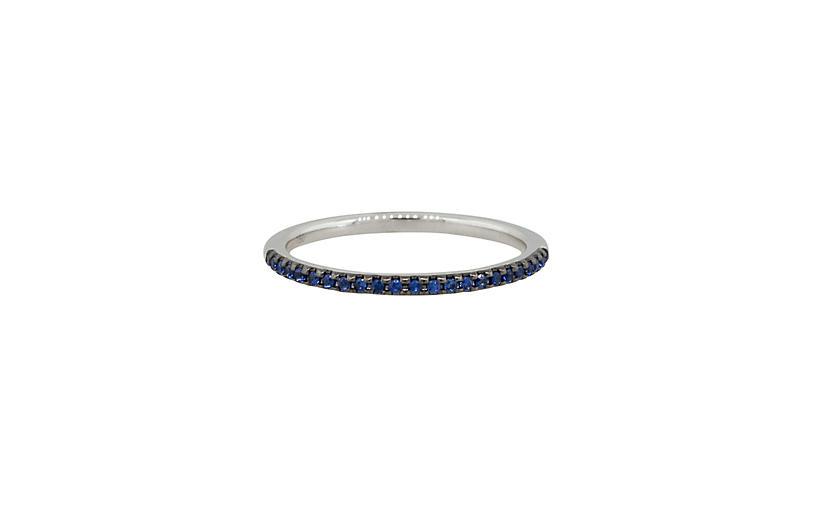 Round Sapphire Halfway Ring