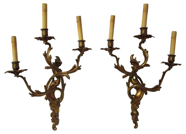 19th-C. French Rococo Sconces, Pair