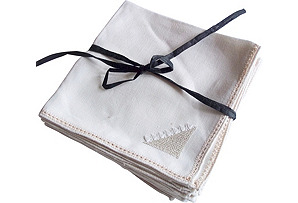 Linen Embroidered Napkins, S/8