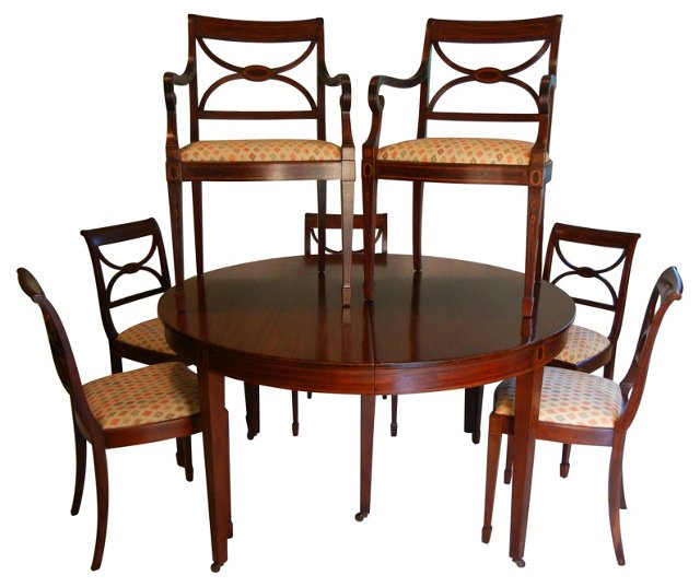 Hepplewhite-Style  Table & 7 Chairs