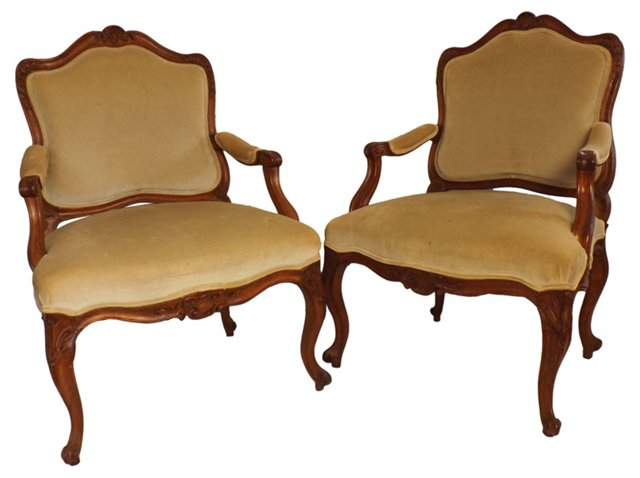 Carved French  Fauteuils, Pair